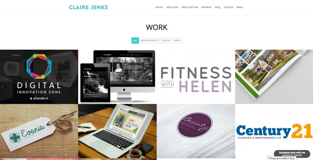 Headshots, Website Extract, Claire Jenks Graphic Design