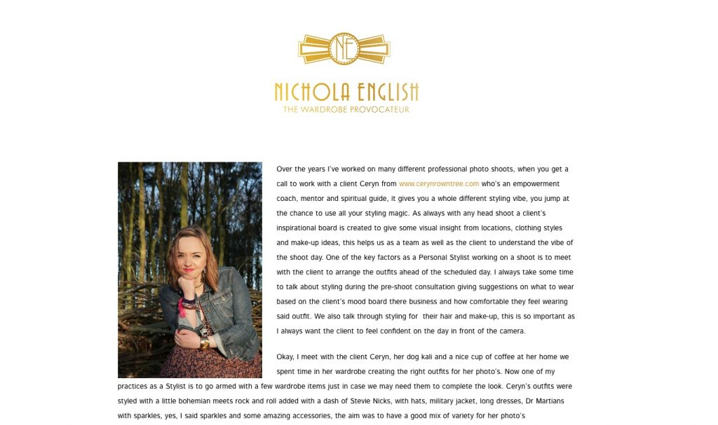 Nichola English writes up Ceryn's Shoot from a Style Perspective