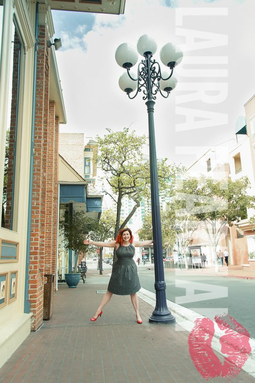 Having a Lamp post moment in San Diego Headshots with Christine Gritmon Social Media Strategist - Shot By Laura Pearman Photography