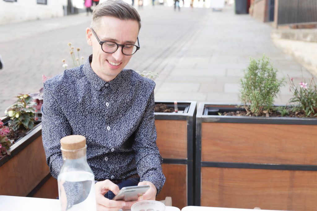 Paul controls his creative agency from the power of his smartphone.